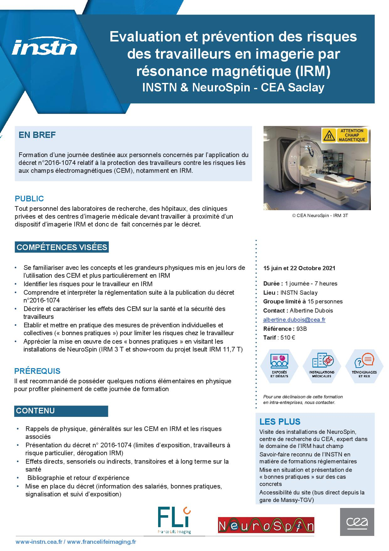 Formation: Evaluation et prévention des risques des travailleurs en imagerie par résonance magnétique ( IRM) INSTN & NeuroSpin CEA Saclay